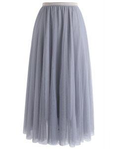 Twinkling Stars Mesh Skirt in Dusty Blue