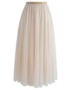 Twinkling Stars Mesh Skirt in Cream