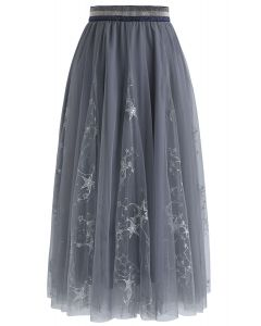Dazzling Stars Tulle Midi Skirt in Grey