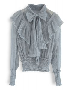 All We Know Bowknot Ruffle Mesh Top in Dusty Blue