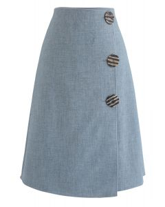 Another Me Flap Shift Skirt in Blue