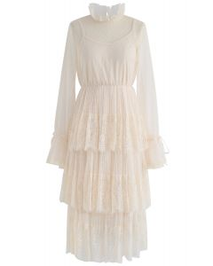 We've Met Before Dots Lace Mesh Dress in Cream