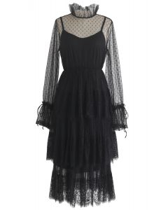 We've Met Before Dots Lace Mesh Dress in Black