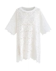 Perfect Morning Full Floral Crochet Tunic in White