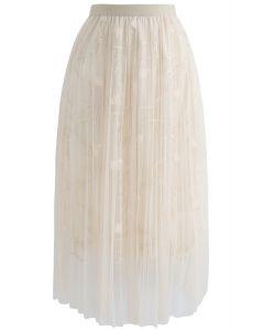 Florescent Dreams Mesh Pleated Tulle Midi Skirt in Cream