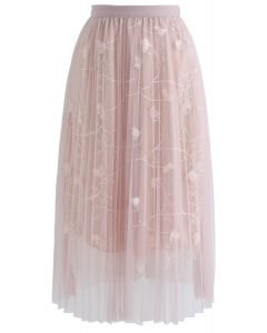Florescent Dreams Mesh Pleated Tulle Midi Skirt in Pink