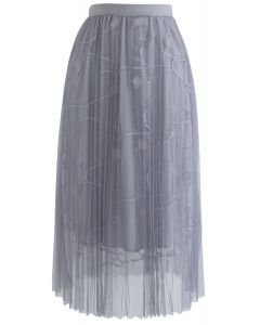 Florescent Dreams Mesh Pleated Tulle Midi Skirt in Grey