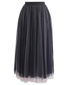 Mesh You Were Here Midi Skirt in Navy