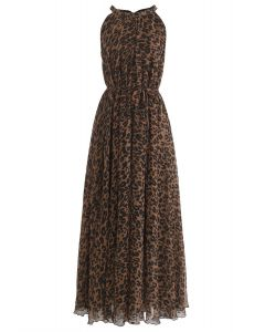 Leopard Watercolor Maxi Slip Dress in Brown