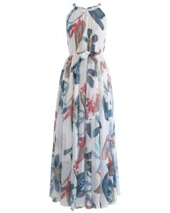 Tropical Floral Watercolor Maxi Slip Dress in White