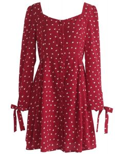 Get Hearts In Print Button Down Dress