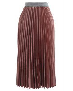 Gimme The Spotlight Pleated Midi Skirt in Caramel