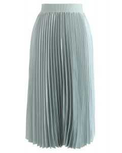 Glam Slam Pleated Midi Skirt in Mint