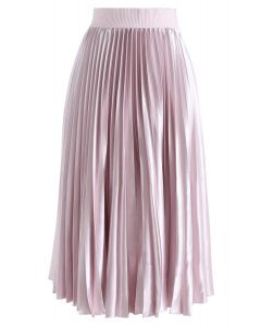 Glam Slam Pleated Midi Skirt in Pink