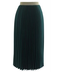 Gimme The Spotlight Pleated Midi Skirt in Emerald