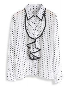 It's All in Hearts Print Chiffon Shirt