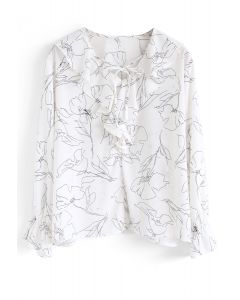 Abstract Floral Ruffle Chiffon Top in White