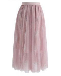 Make It Sparkle Mesh Skirt in Pink