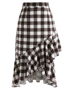 Get Pretty in Check Frilling Skirt in Brown