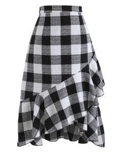 Get Pretty in Check Frilling Skirt in Black