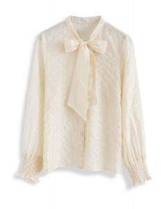 Tinsel Stripes Bowknot Shirt in Cream