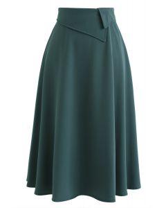 Keep on Loving You A-Line Midi Skirt in Dark Green
