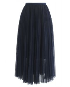 Turn the Night Up Pleated Mesh Skirt in Navy