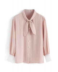 You Made It Bowknot Shirt in Peach
