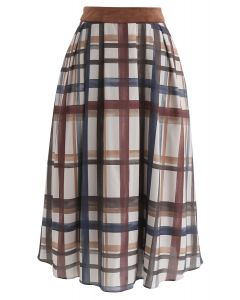 Check Your Date A-Line Midi Skirt