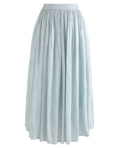 Sleek Beauties Pleated Midi Skirt in Mint