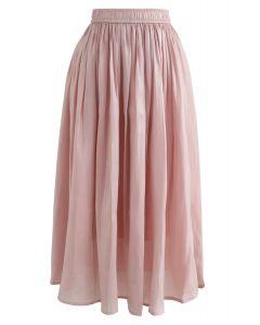 Sleek Beauties Pleated Midi Skirt in Pink