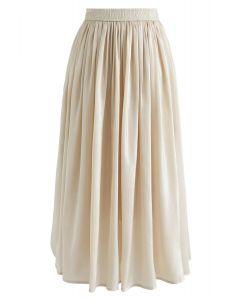 Sleek Beauties Pleated Midi Skirt in Gold