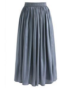 Sleek Beauties Pleated Midi Skirt in Dusty Blue