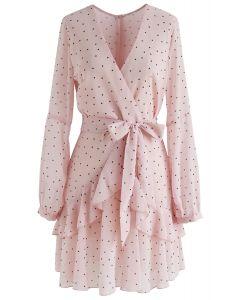 Dots My Heart Wrap Ruffle Dress in Pink