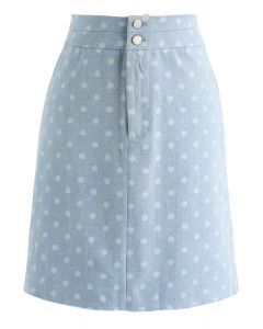 Luke Sharratt Polka Dots Denim Skirt