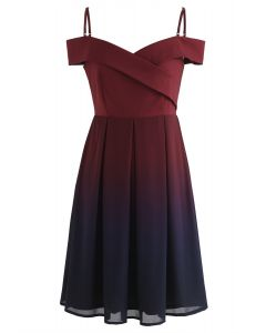 Gradient Revelry Cold-Shoulder Dress in Wine