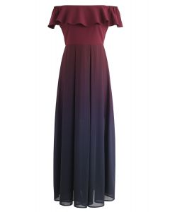 Gradient Revelry Off-Shoulder Dress in Wine