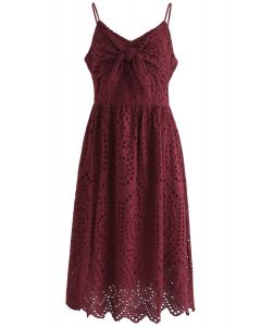 Party Playlist Eyelet Cami Dress in Wine
