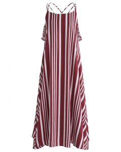Prominent Stripes Cross Back Cami Dress