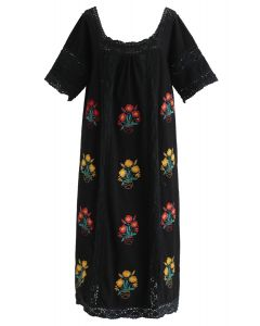 All Rhymes for Boho Floral Embroidered Dress in Black