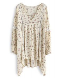 Follow the Florets V-neck Floral Tunic in Cream