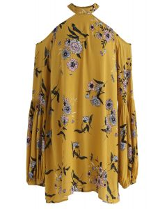 Your Summer Dew Floral Halter Neck Tunic in Mustard