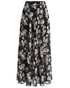 Flower Season Chiffon Maxi Skirt in Black