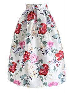 Flower Power Pleated Midi Skirt