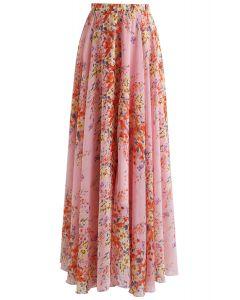 All Bloom Chiffon Maxi Skirt in Pink