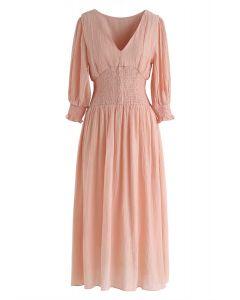Pink Like This Shirred V-Neck Dress