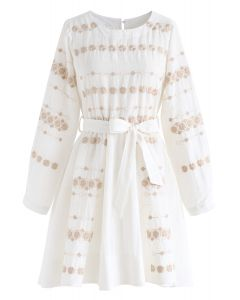 Lucky Me Clovers Embroidered Belted Dress