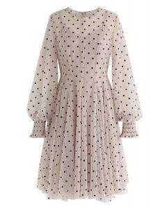 Sweet Surrender Polka Dots Mesh Dress in Light Tan