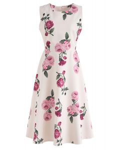 Peony Motif Printed Sleeveless Midi Dress