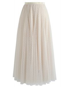 Dots Opportunity Tulle Maxi Skirt in Cream